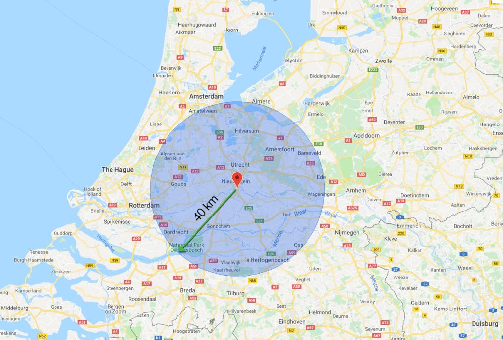 actieradius van 40 kilometer op de kaart